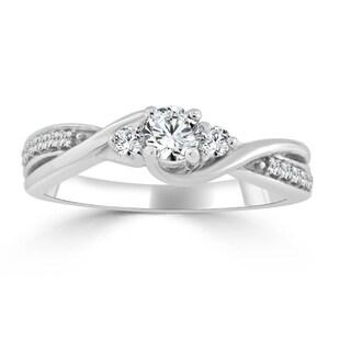 Auriya 14k Gold Twisted Bypass 1/3ct TDW Diamond Engagement Ring