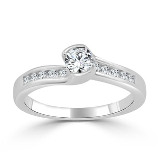 Auriya 14k Gold 1/2ct TDW Tension Diamond Engagement Ring
