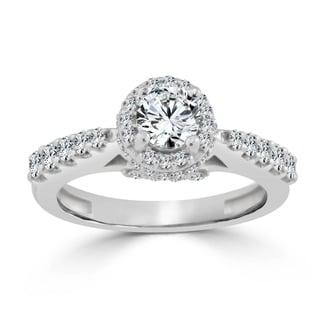 Auriya 14k Gold 1ct TDW Diamond Halo Engagement Ring