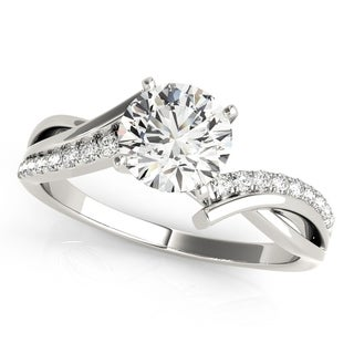 14k White Gold Twisted Swirl Pave Diamond Engagement Ring (1.00ct)
