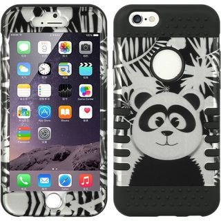 Insten Black/ White Panda Hard PC/ Silicone Dual Layer Hybrid Rubberized Matte Case Cover For Apple iPhone 6/ 6s