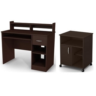 South Shore Axess Desk with Keyboard Tray and Printer Stand