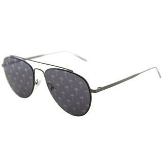 Tomas Maier Unisex Silver Frame Blue Mirror Palm Lens Aviator Sunglasses