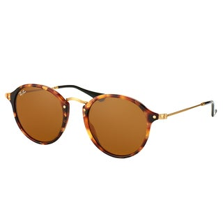 Ray-Ban Round RB 2447 1160 Unisex Spotted Brown Havana Frame Brown Lens Sunglasses