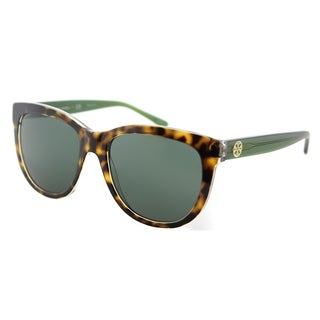 Tory Burch Square TY 7091 163471 Women's Tortoise on Crystal Bottle Green Frame Green Lens Sunglasses