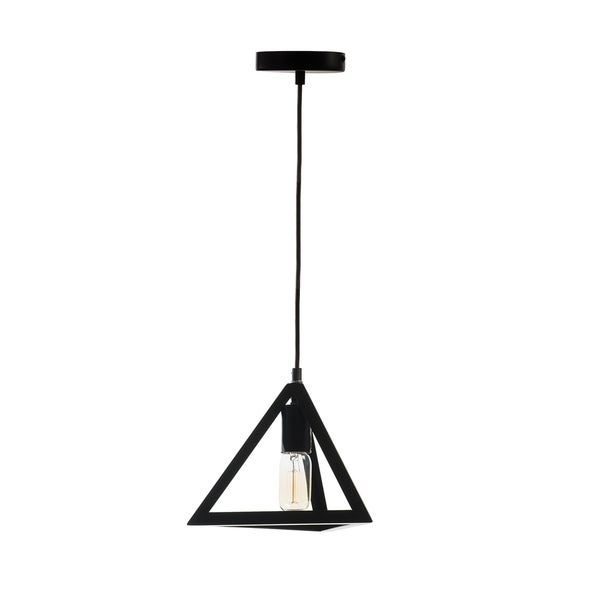 Black Metal Single Bulb Pyramid Pendant Lamp Free Shipping Today 16827349