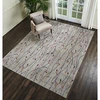 Nourison Grafix Floral Vines Grey Area Rug - 7'10 x 9'10