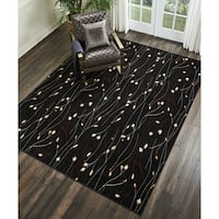 Nourison Grafix Black/ Red Floral Area Rug - 7'10 x 9'10