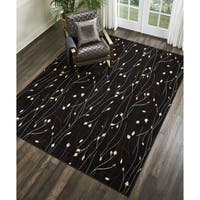 Nourison Grafix Black/ Red Floral Area Rug (7'10 x 9'10) - 7'10 x 9'10