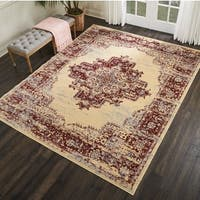 Nourison Grafix Cream/ Red Medallion Area Rug - 7'10 x 9'10