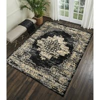Nourison Grafix Distressed Black/Cream Medallion Rug - 7'10 x 9'10