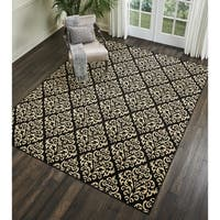 Nourison Grafix Black/Cream Damask Area Rug - 7'10 x 9'10