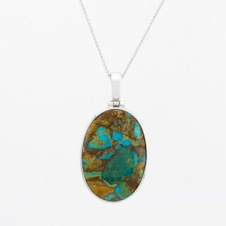 Teal Mohave Turquoise Pendant Necklace