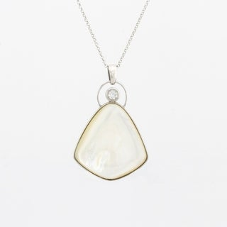 Mother of Pearl & White Topaz Pendant Necklace