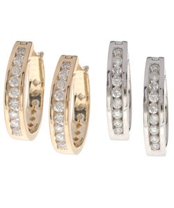Eloquence 14k Gold 1/2ct TDW Diamond Hoop Earrings (H-I, I2)