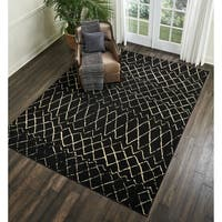 Nourison Grafix Black/ Cream Area Rug (7'10 x 9'10) - 7'10 x 9'10