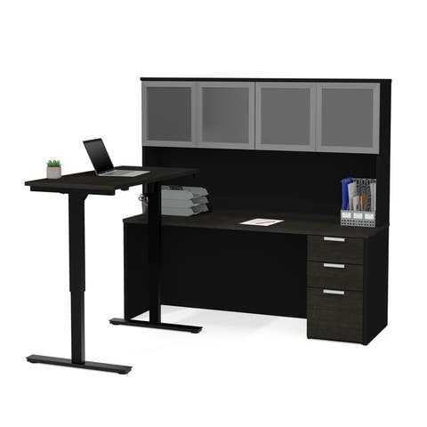 Bestar Pro-Concept Plus Height Adjustable L-Desk with Frosted Glass Door Hutch