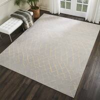 Nourison Grafix Grey/Cream Geometric Area Rug - 5'3 x 7'3