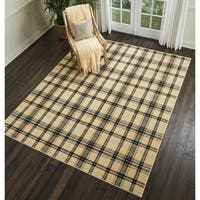 Nourison Grafix Cream Plaid Area Rug - 7'10 x 9'10