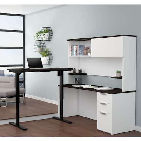 Bestar Pro-Concept Plus Height Adjustable L-Desk with Hutch
