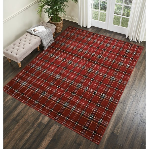 Shop Nourison Grafix Red Plaid Area Rug 5 3 Quot X 7 3