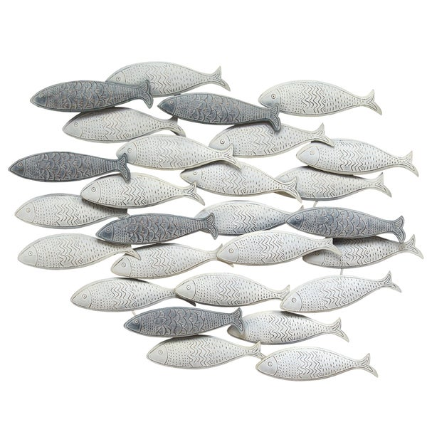 Stratton Home Decor School Of Fish Grey Metal Wall Decor