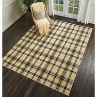 Nourison Grafix Cream Plaid Area Rug - 5'3 x 7'3