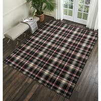 Nourison Grafix Black Plaid Area Rug - 5'3 X 7'3