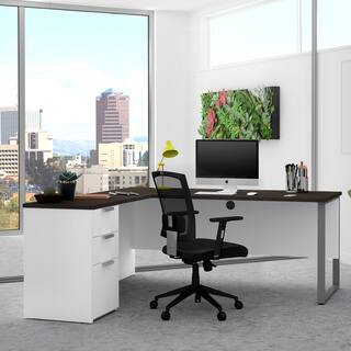Shop Bestar Connexion L Desk With Oversized Pedestal