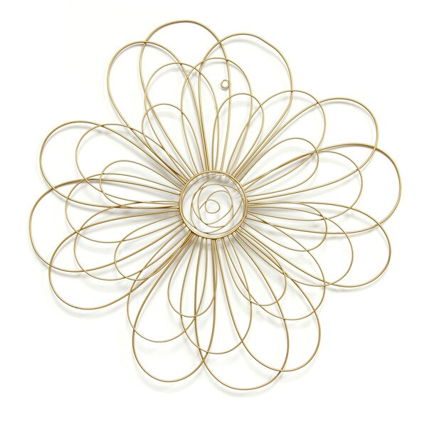 Stratton Home Decor Gold Wire Flower Wall