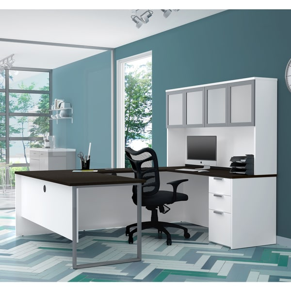 Bestar Pro-Concept Plus U-Desk with Frosted Glass Door Hutch. Opens flyout.