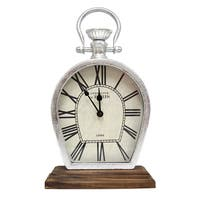 Stratton Home Decor Figaro Silver/Brown Metal/Wood Tabletop Clock