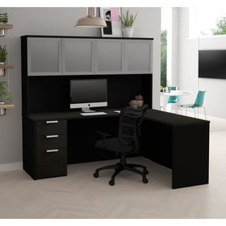 Bestar Pro-Concept Plus L-Desk with Frosted Glass Door Hutch