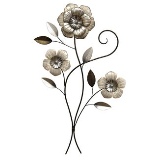 Stratton Home Decor Silver/Brown Metal 3-headed Simple Flower Wall Decor