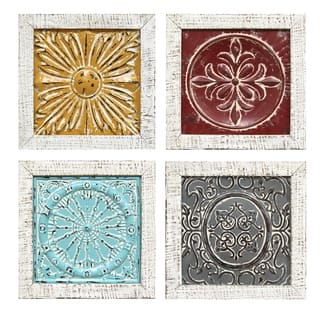 Stratton Home Decor Embossed Metal/Wood 4-piece Accent Tile Wall Art Set
