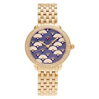 Michele Women's MWW21B000102 'Serein' Goldplated 3/5 CT TDW Diamond Blue Fan Bracelet Watch