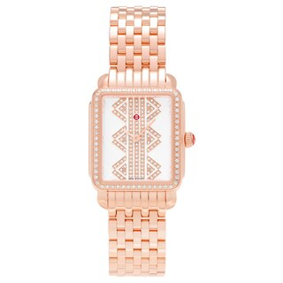 Michele Women's MWW06I000021 'Deco' Rose Goldplated Stainless Steel 5/8 CT Diamond Bracelet Watch