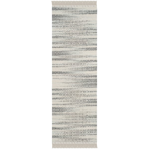 Safavieh Boston Coastal Grey/ Ivory Cotton Runner Rug (2' 3 X 7')