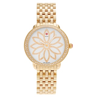 Michele Women's MWW21A000056 'Serein' Goldplated Stainless Steel 1 CT Diamond TDW Flower Dial Watch
