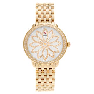 Michele Women's MWW21A000056 'Serein' Goldplated Stainless Steel 1 CT Diamond TDW Flower Dial Watch|https://ak1.ostkcdn.com/images/products/16828716/P23129986.jpg?impolicy=medium