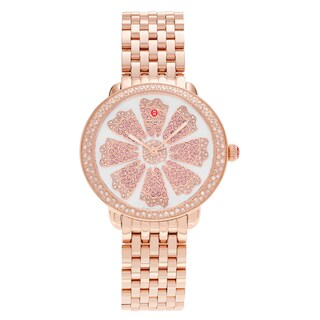 Michele Women's MWW21B000090 'Serein' Rose Goldplated 3/4 CT TDW Diamond and Pink Topaz Flower Watch