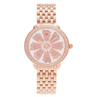 Michele Women's MWW21B000090 'Serein' Rose Goldplated 3/4 CT TDW Diamond and Pink Topaz Flower Watch