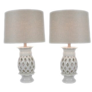 JT Lighting Solaria Off-white Ceramic 24-inch Table Lamps (Set of 2)