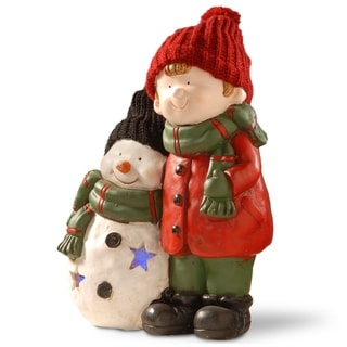 "15"" Lighted Boy & Snowman"