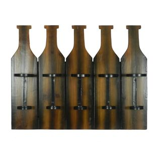 Benzara Brown Wood Bottle Holder