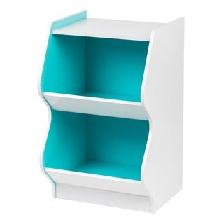 IRIS 2-tier White and Blue Curved Edge Storage Shelf