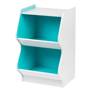 Iris 2-tier Scalloped White/Blue Wood Storage Shelf