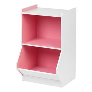 Iris White/PInk Wood 2-tier Storage Shelf