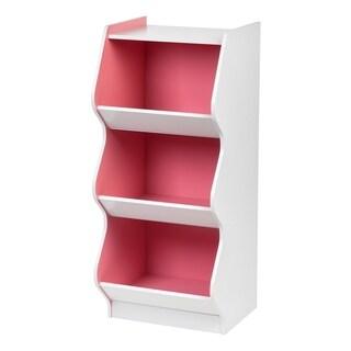 Iris Pink and White Wood 3-tier Scalloped Storage Shelf