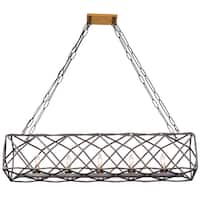 Varaluz Geo 5-light Antique Gold with Rustic Bronze Linear Pendant